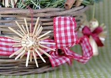 Украшение венка соломы рождества Стоковое Изображение