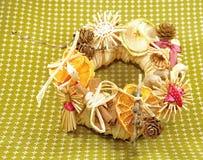 Украшение венка соломы рождества Стоковая Фотография RF