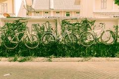 украшение велосипеда на стене Стоковое фото RF