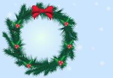 Украшение гирлянды сосны рождества с backgroud сини снежинки иллюстрация вектора