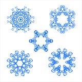Украшение голубой мандалы геометрии установленное иллюстрация вектора