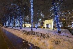Украшение города, квадрат освещения Нового Года и рождества Novopushkinsky, Москва Россия Стоковые Изображения RF