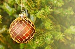 Украшение дерева шарика рождества, рождественская открытка стоковая фотография rf