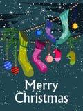 Украшение для счастливого Нового Года и с Рождеством Христовым приветствия иллюстрация штока