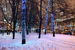 Украшение зимы Москвы, Россия Стоковые Изображения