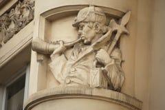 Украшение здания Nouveau искусства в Праге, чехии Стоковое Изображение