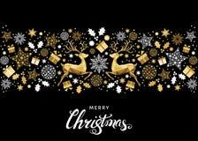 Украшение и литерность дерева рождества золотые Стоковые Фото