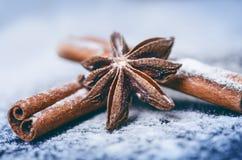 Украшение и печенья рождества Рука женщины брызгая сахар на печенья Мука и специи для выпечки на темном backg Стоковые Изображения RF