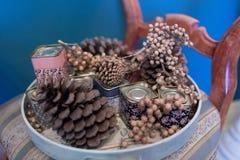 Украшение конусов сосны стоковое изображение