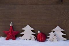 Украшение красного, белого рождества, дерево, шарик, космос экземпляра Стоковая Фотография