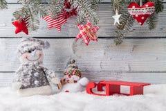 Украшение натюрморта рождества с деревянным стоковое фото