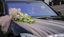 Украшение на автомобиле свадьбы Стоковая Фотография RF