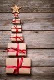 Украшение на рождество и Новый Год на деревянной предпосылке Стоковое Изображение RF
