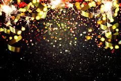 Украшение Нового Года, крупный план на золотых предпосылках Стоковые Изображения RF
