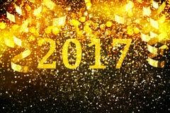 Украшение Нового Года, крупный план на золотых предпосылках Стоковые Изображения