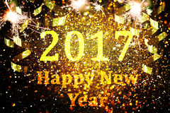 Украшение Нового Года, крупный план на золотых предпосылках Стоковое Фото