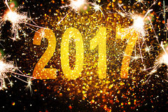 Украшение Нового Года, крупный план на золотых предпосылках Стоковая Фотография