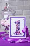 украшение дня рождения счастливое один год Декоративная рамка с figur Стоковые Фото