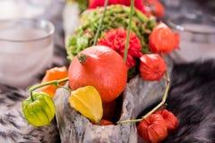 Украшение осени в шаре на мехе Стоковая Фотография
