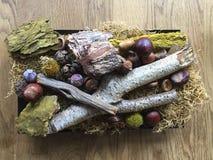 Украшение осени на деревянном столе Стоковая Фотография RF