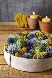 Украшение осени сделанное из диких растений в круглой коробке Стоковая Фотография RF