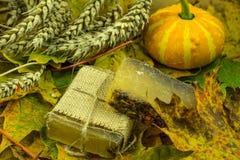 Украшение осени с handmade мылом Стоковые Изображения