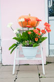 Украшение осени - тыква и цветки на улице Стоковые Изображения