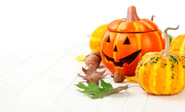 Украшение осени хеллоуина праздника с тыквами Джек-o-фонарика Стоковое Фото