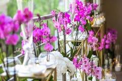Украшение от розовых цветков и свечей Стоковое Фото