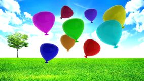 Украшение партии воздушных шаров с днем рождения Стоковые Изображения RF