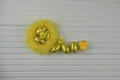 Украшение пасхи весеннего времени с желтым гнездом заполнило с яичками золотого цвета сияющими и пушистыми украшениями цыпленока  Стоковая Фотография
