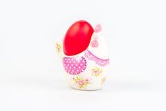 Украшение пасхи с красным яичком Стоковая Фотография