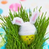Украшение пасхи с милым яичком в шляпе зайчика Стоковые Фотографии RF