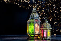 Украшение праздников восточного светлого фонарика исламское стоковые изображения