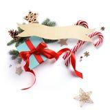Украшение праздника рождества; Подарок рождества сладостный, бюстгальтер ели Стоковое Фото