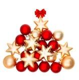Украшение праздников с красными и золотыми шариками Стоковые Изображения RF