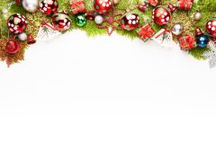 Украшение предпосылки рождества изолированное на белой предпосылке стоковые фотографии rf