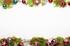 Украшение предпосылки рождества изолированное на белой предпосылке стоковая фотография