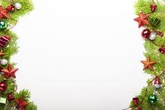 Украшение предпосылки рождества на белой предпосылке стоковые фотографии rf