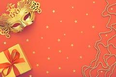 Украшение предпосылки партии счастливое Новый Год masquerade маски Стоковое Фото