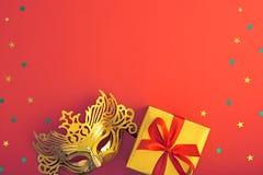 Украшение предпосылки партии счастливое Новый Год masquerade маски Стоковые Фото