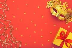 Украшение предпосылки партии счастливое Новый Год masquerade маски Стоковые Изображения