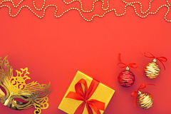 Украшение предпосылки рождества счастливое Новый Год masquerade маски Стоковое фото RF