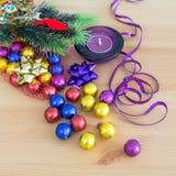 Украшение, пурпур и желтый цвет праздника рождества Стоковые Изображения RF