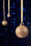 Украшение рождества в золоте и сини Стоковое Изображение