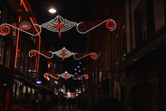 Украшение рождества в улице Амстердама стоковая фотография