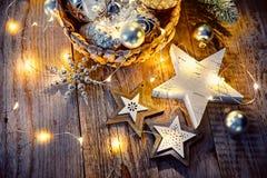 Украшение рождества для гирлянды стеклянных шариков ели Стоковая Фотография