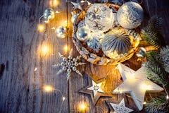Украшение рождества для гирлянды стеклянных шариков ели Стоковое Фото