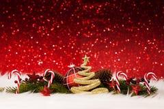 Украшение рождества - золотой яркий блеск сверкная Стоковая Фотография RF