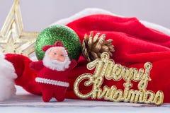 Украшение рождества и Нового Года на старом bac деревянного стола grunge Стоковая Фотография